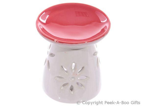 Ceramic Round Fragrance Oil Burner Red Top Floral Cut Out Base