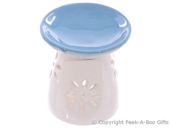Ceramic Round Fragrance Oil Burner Blue Top Floral Cut Out Base