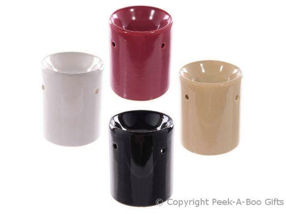 Ceramic Straight Sided Fragrance Oil Burner 4 Assorted Plain Colours