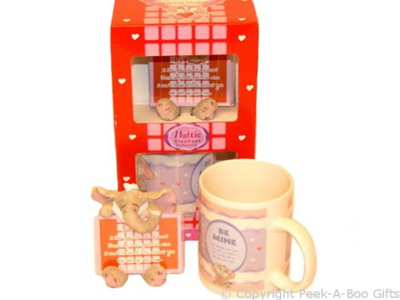Valentine Be Mine Mug & Plaque Set Hattie Elephant