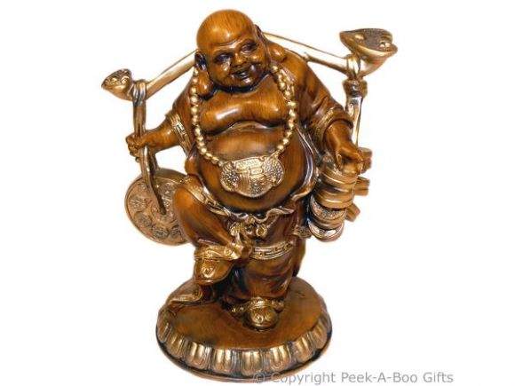 Wood Effect Happy Buddha Figurine-Statue Standing Carrying Coins