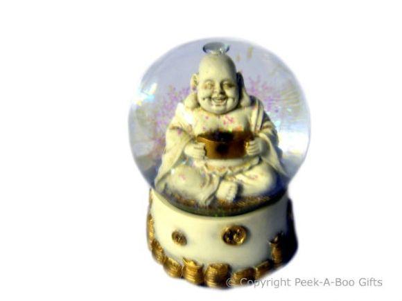 Lucky Buddha 65mm Water Ball-Globe Cream & Gold with Figurine