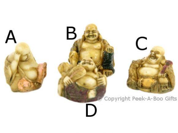 Happy Buddha Mini 3cm Figurine Cream & Gold with Coloured Accents S1