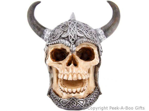 Gothic Skull in Horned Celtic Helmet Money Box/Bank