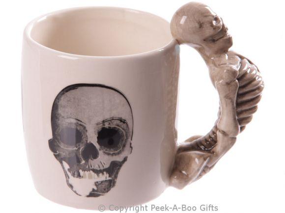 Gothic Skull Mug with 3D Skeleton Shaped Handle