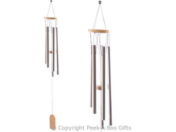 Wind Chime with Wooden Top & 5 Metal Tube Chimes 58cm